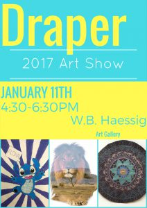 Poster for Draper Art Show showing art pieces