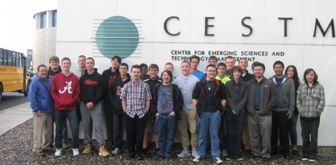 Group photo in front of nanotech facility