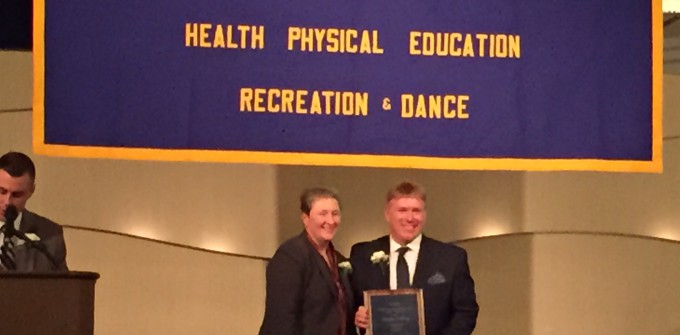 Hallberg receives PE teacher of the year award