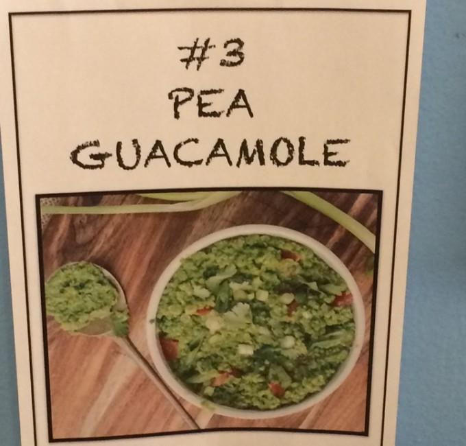 Photo of pea guacamole sign