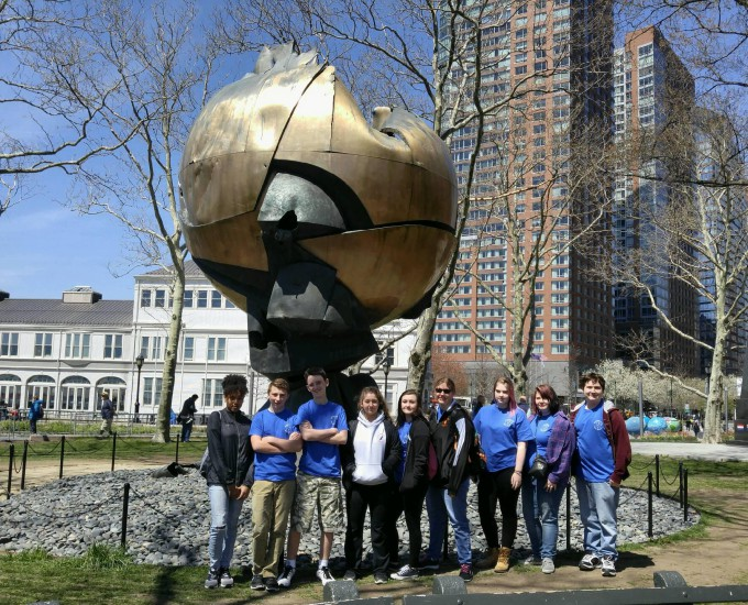 Students pose for photo in New York City