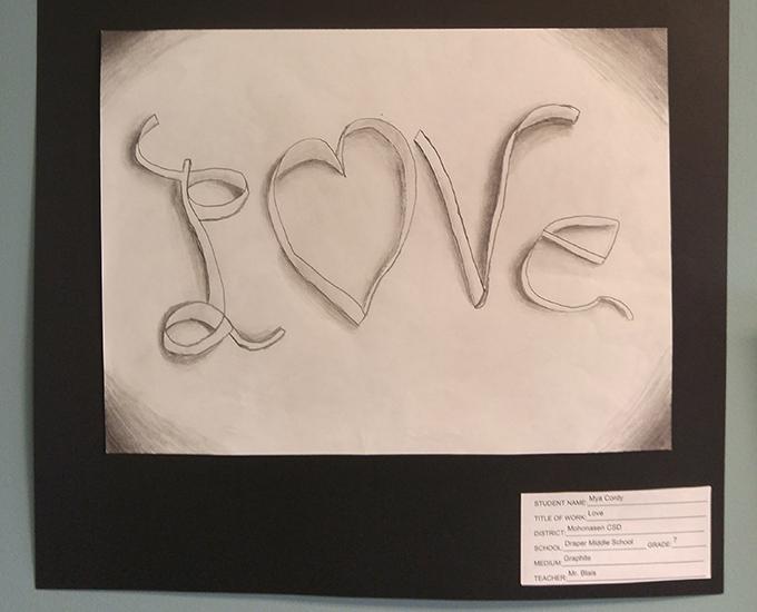 Close-up of student artwork