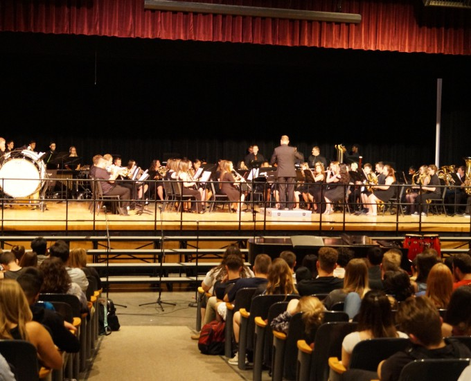 Student band performs with director