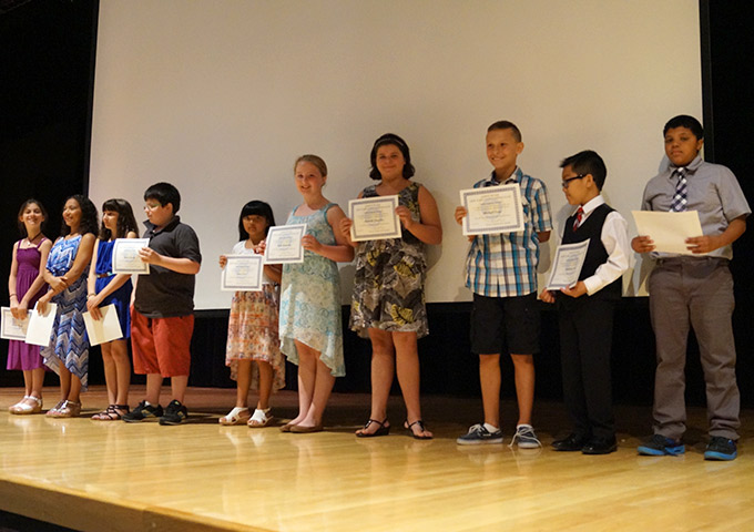 Fifth-grade students at Moving Up Ceremony