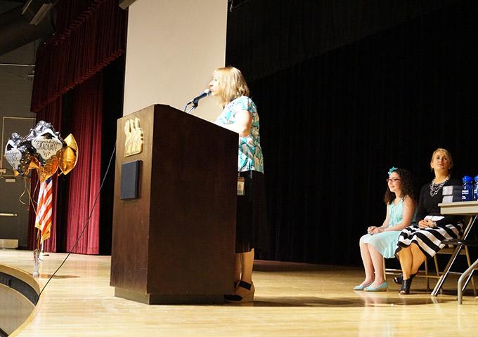Middle school principal makes speech
