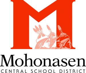 Mohonasen Central School district logo featuring large M and three Native American heads