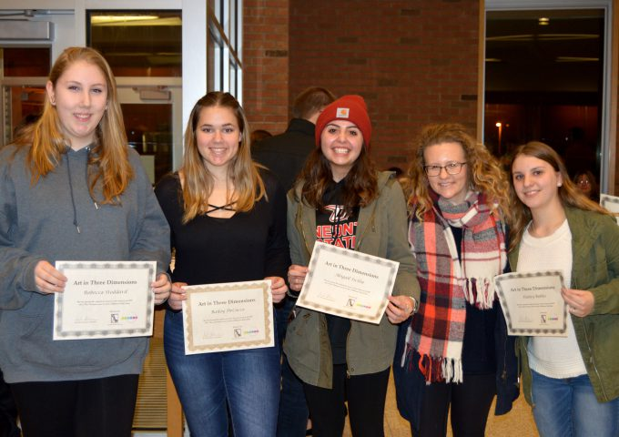 Group of five girls hold individual certificates
