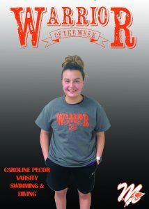 Caroline Pecor stands in a warriors tshirt.