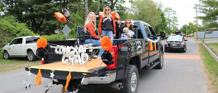 Mohonasen senior vehicle parade girls on back of pickup truck