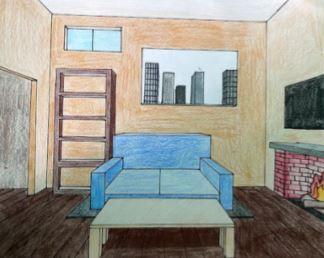 Mohonasen district 2021 art show sample - bedroom and fireplace