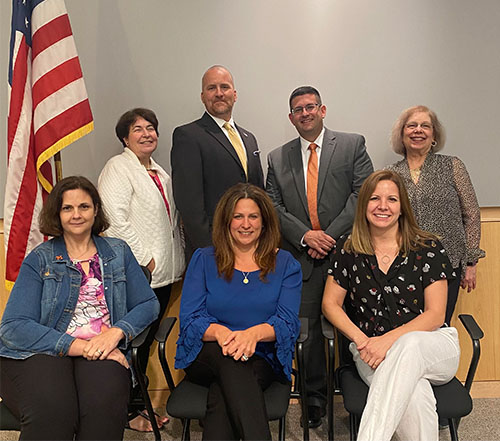 The Mohonasen 2021 Board of Education. From left, Stacy MacTurk, Lisa Gaglioti, Vice President Chad McFarland, Ericka Montagino, President Wade Abbott, Julie Power and Deborah Escobar